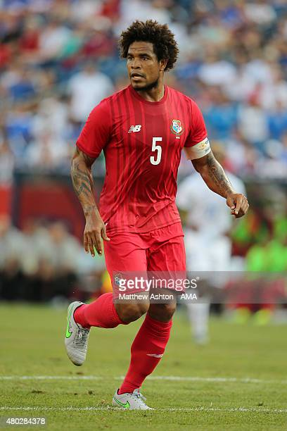 Roman Torres of Panama during the CONCACAF Gold Cup match between Honduras and Panama at Gillette Stadium on July 10 2015 in Foxboro Massachusetts