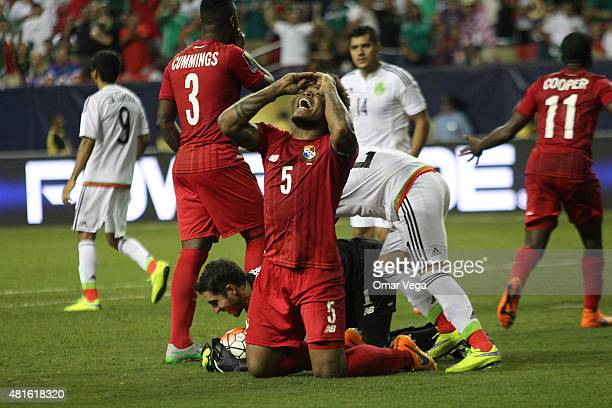 Roman Torres of Panama reacts after the referee called a penalty during a semi final match between Mexico and Panama as part of Gold Cup 2015 at...