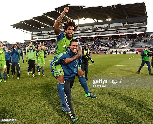 Roman Torres of Seattle Sounders celebrates a 10 win over the Colorado Rapids to win the MLS Western Conference Finals at Dick's Sporting Goods Park...