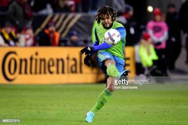 Roman Torres of Seattle Sounders FC shoots the ball during the 2017 MLS Cup Final between Toronto FC and Seattle Sounders FC on December 9 at BMO...