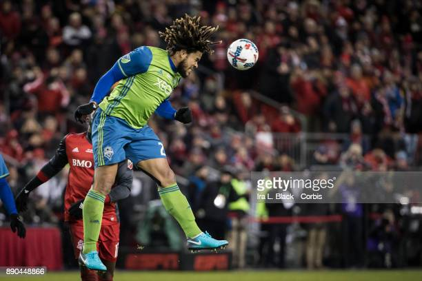 Roman Torres of Seattle Sounders heads the ball during the 2017 Audi MLS Championship Cup match between Toronto FC and Seattle Sounders FC at BMO...