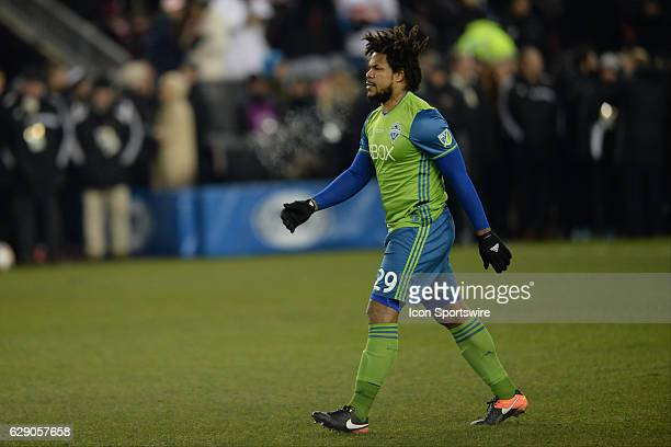 Roman Torres of Seattle Sounders steps in to take his penalty shot during the penalty shootout of the MLS Cup Final game between Toronto FC and...