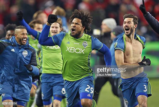 Roman Torres of the Seattle Sounders celebrates his championship winning goal against the Toronto FC in the 2016 MLS Cup at BMO Field on December 10...