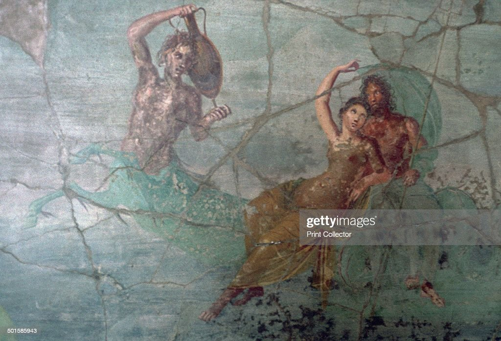 Roman wallpainting of Neptune and Amphitrite on the tail of a Triton from peristyle K Pompeii In the National Archaeological Museum in Naples