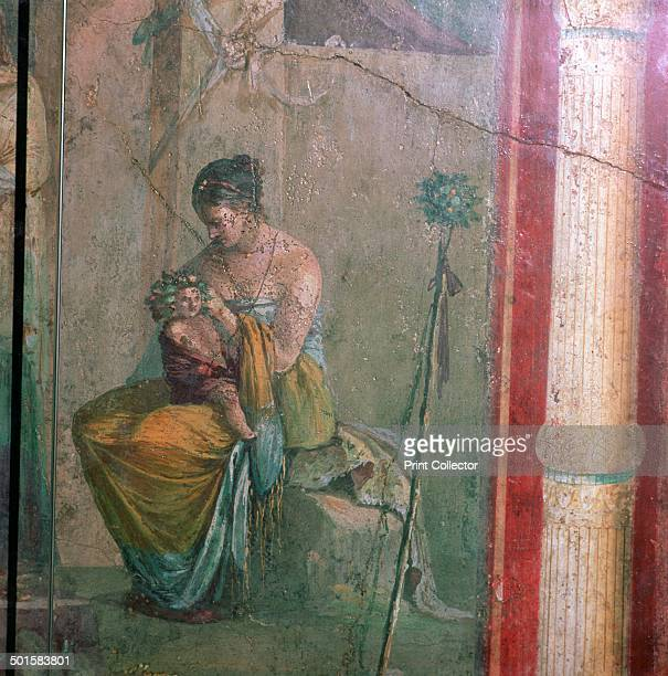 Roman wallpainting of the nymph Leucothea and the infant Dionysus from the Villa Farne Sina from in the National Museum's collection in Rome 1st...