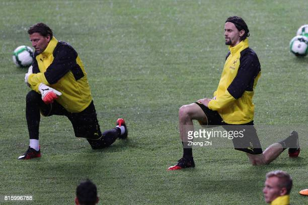 Roman Weidenfeller and Neven Subotic of Dortmund in action during a training session ahead of the 2017 International Champions Cup football match...