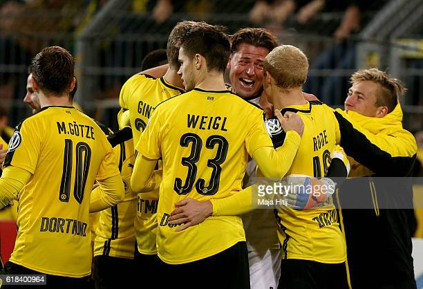 Roman Weidenfeller goalkeeper of Dortmund celebrates after penalty shoot out during DFB Cup second round match between Borussia Dortmund and 1 FC...