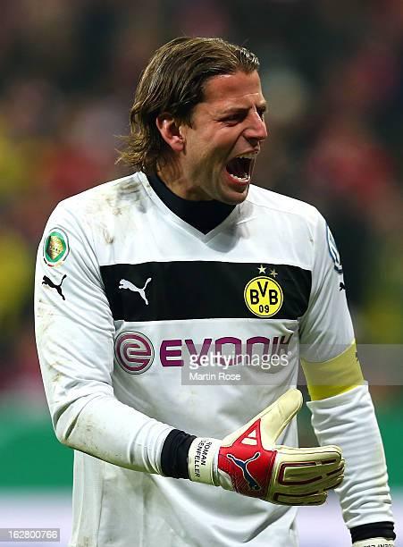 Roman Weidenfeller goalkeeper of Dortmund reacts during the DFB cup quarter final match between Bayern Muenchen and Borussia Dortmund at Allianz...