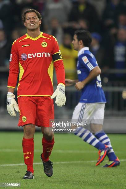 Roman Weidenfeller of Dortmund looks dejected after losing the Supercup match between FC Schalke 04 and Borussia Dortmund at Veltins Arena on July 23...