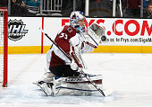 Roman Will of the Colorado Avalanche makes a save during pregame warmups before the game against the San Jose Sharks during a NHL game at the SAP...