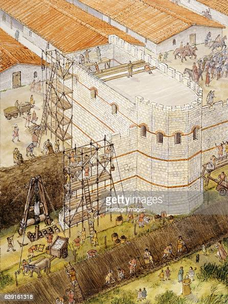 Roman York c3rd century North Yorkshire Aerial reconstruction drawing showing Roman York Construction of interval tower c210AD A tower situated above...