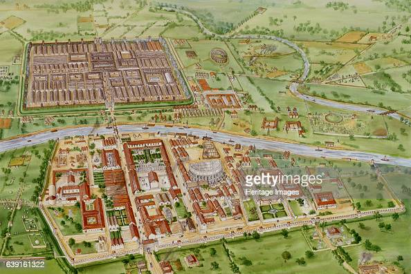 Roman York c3rd century North Yorkshire c210 AD Aerial reconstruction drawing The city was founded in about AD 71 when the 5000 men of the Ninth...