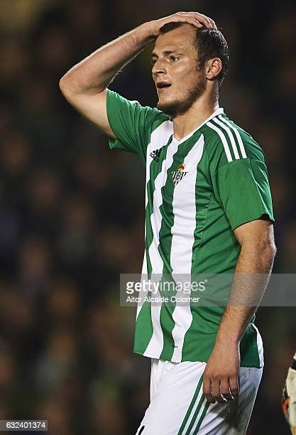Roman Zozulya of Real Betis Balompie reacts during the La Liga match between Real Betis Balompie and Real Sporting de Gijon at Benito Villamarin...