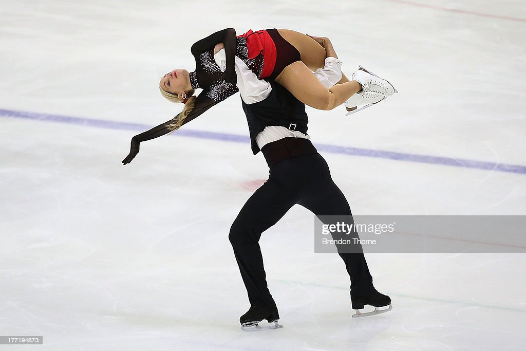 Romana Elsener and Florian Roost of Switzerland compete in the Senior Free Dance during Skate Down Under at Canterbury Olympic Ice Rink on August 22, 2013 in Sydney, Australia.