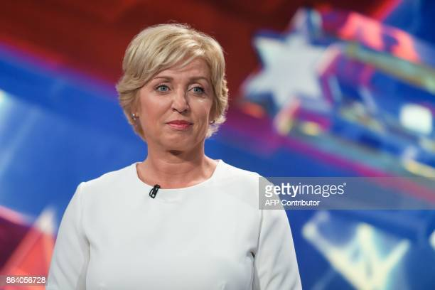 Romana Tomc presidential candidate and Member of European Parliament attends the last TV Presidential Debate ahead of the Presidential Elections in...