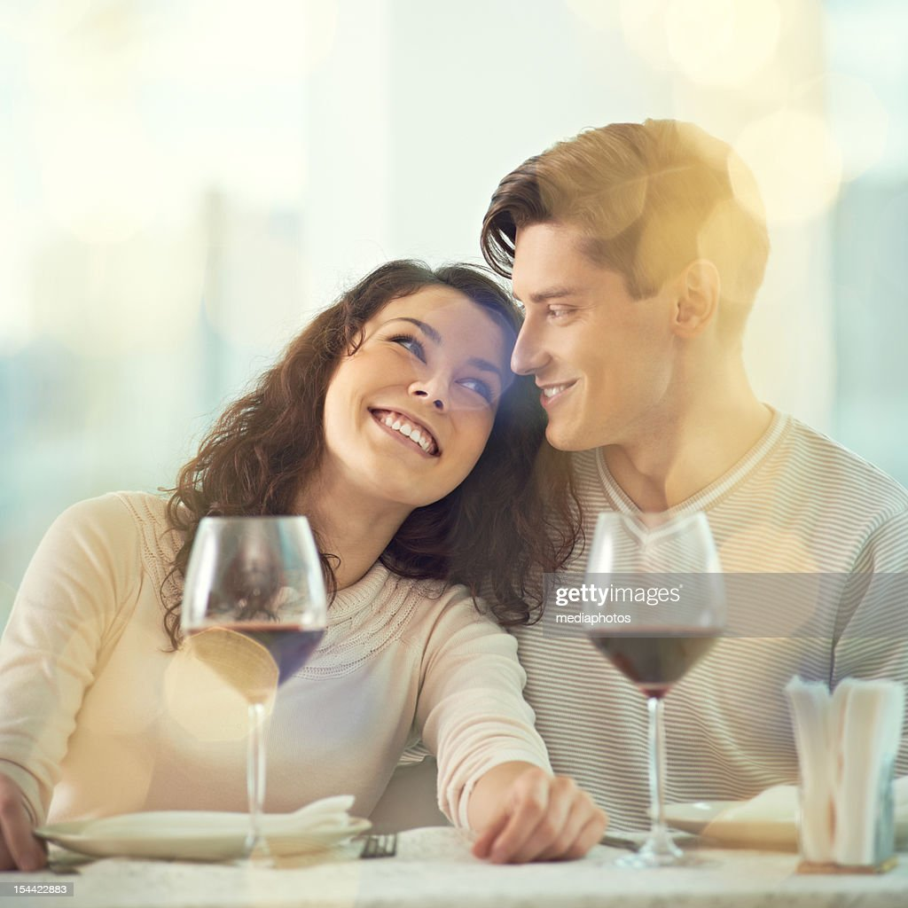 Romance in restaurant : Stock Photo