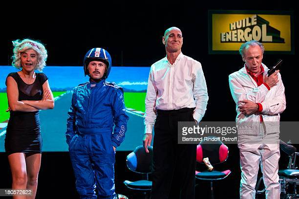 Romane Bohringer Matthieu Roze Warren Zavatta and Thierry Gimenez perform during a runthrough of the sketch 'Formule 1' part of the play 'Melodrame'...