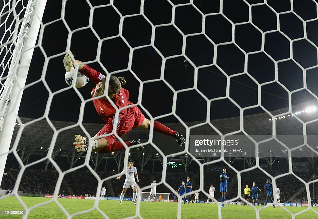 Romane Bruneau of France makes a save during the FIFA U-17 Women's World Cup 2012 Final match beween France and Korea DPR at Tofig Bahramov Stadium on October 13, 2012 in Baku, Azerbaijan.