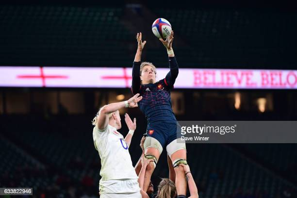Romane Menager of France collects lineout ballduring the Women's RBS Six Nations match between England and France at Twickenham Stadium on February 4...