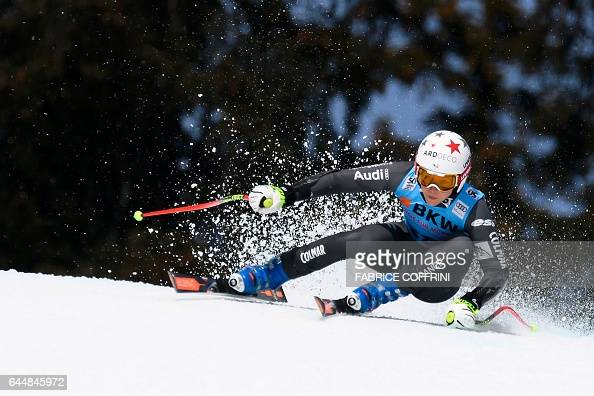 TOPSHOT Romane Miradoli of France competes in the Super G event during the Alpine Skiing FIS World Cup Ladies Alpine combined on February 24 2017 in...