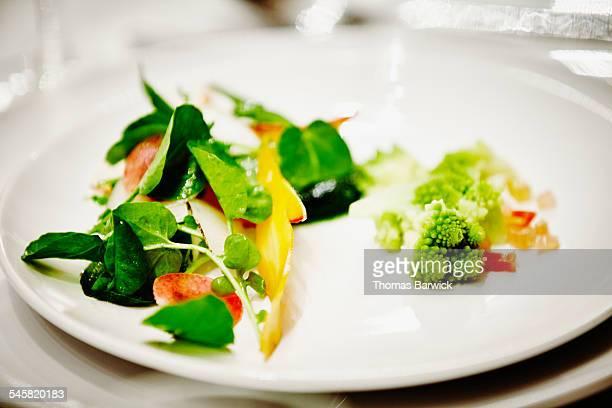 Romanesco cauliflower with pickled chard salad