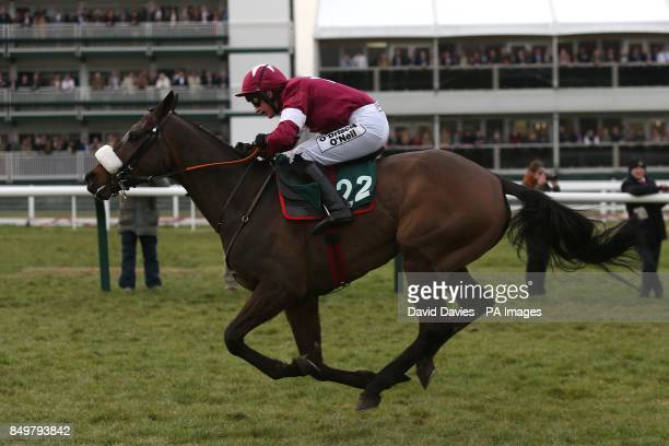 Romanesco ridden by Nina Carberry going to post for the Fulke Walwyn Kim Muir Challenge Cup Handicap Chase on St Patrick's Thursday during Cheltenham...