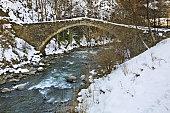 Romanesque bridge in La Margineda. Principality of Andorra