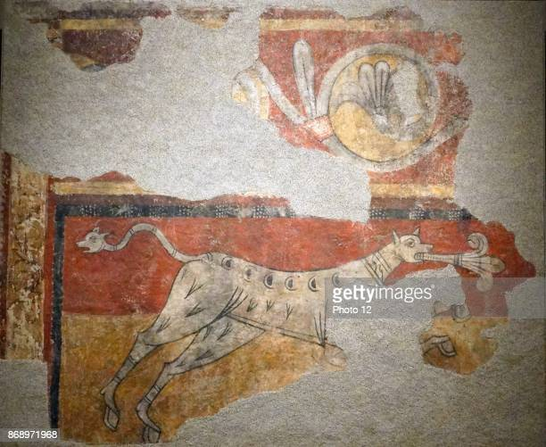 Romanesque quadruped fresco with Lilly from the Church of Santa Joan de Boi Dated 12th Century