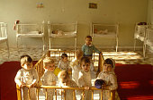 Romania children in an orphanage in Bucarest circa 1995