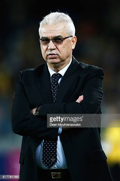 Romania Head Coach / Manager Anghel Iordanescu looks on during the International Friendly match between Romania and Spain held at the Cluj Arena on...