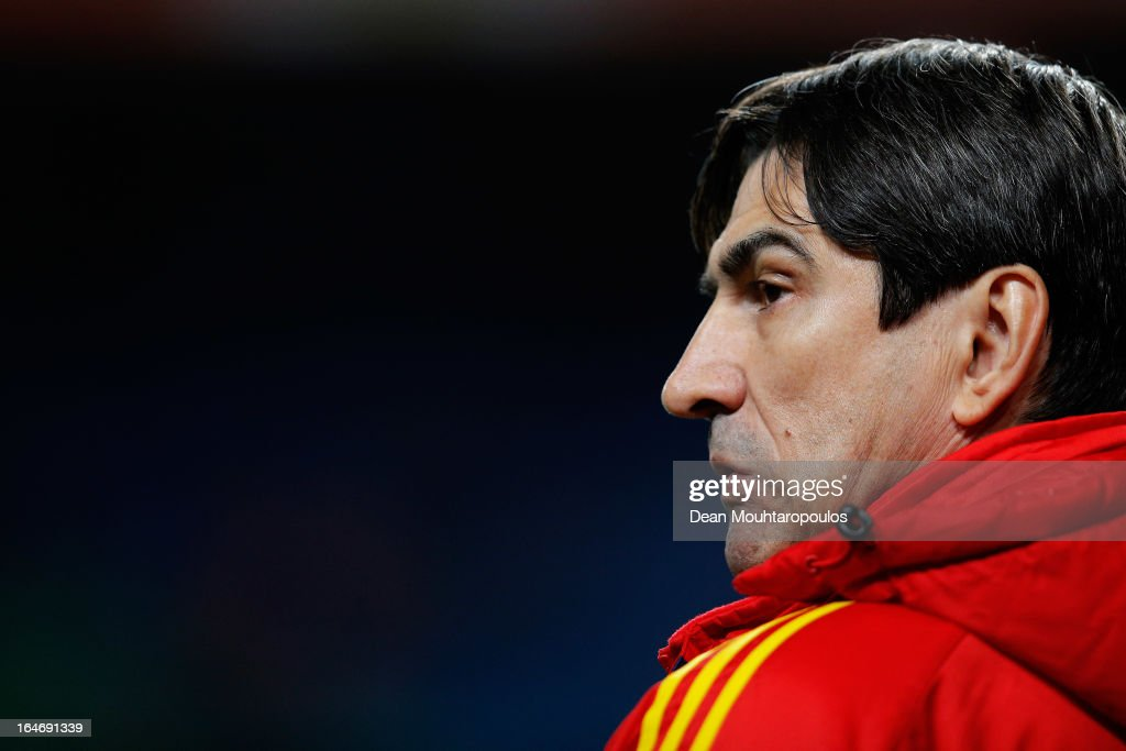 Romania Manager, <a gi-track='captionPersonalityLinkClicked' href=/galleries/search?phrase=Victor+Piturca&family=editorial&specificpeople=2076579 ng-click='$event.stopPropagation()'>Victor Piturca</a> looks on during the the Group 4 FIFA 2014 World Cup Qualifier match between Netherlands and Romania at Amsterdam Arena on March 26, 2013 in Amsterdam, Netherlands.