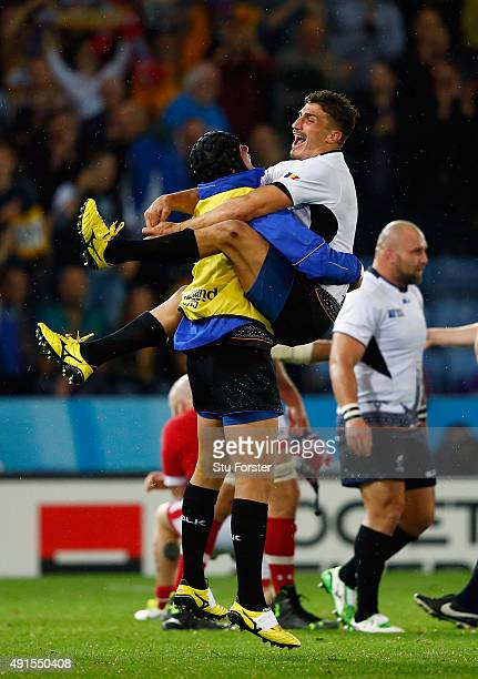 Romania wing Ionut Botezatu celebrates victory on the final whistle during the 2015 Rugby World Cup Pool D match between Canada and Romania at...