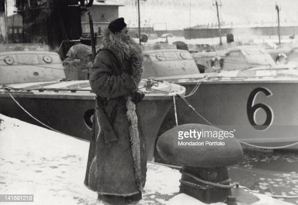 A Romanian army guard employed in a Black Sea base on the Russian front February 1943