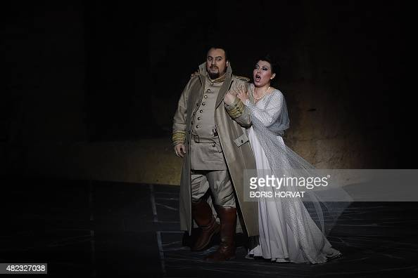 Romanian baritone George Petean as Il Conte di Luna and Chinese soprano Hui He as Leonora perform during the opera 'Il Trovatore' by Guiseppe Verdi...