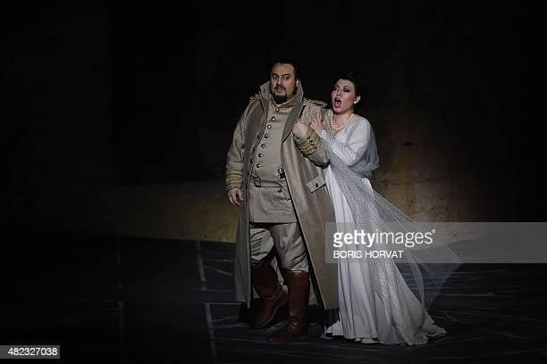Romanian baritone George Petean as Il Conte di Luna and Chinese soprano Hui He as Leonora perform during the opera 'Il Trovatore' by Guiseppe Verdi...