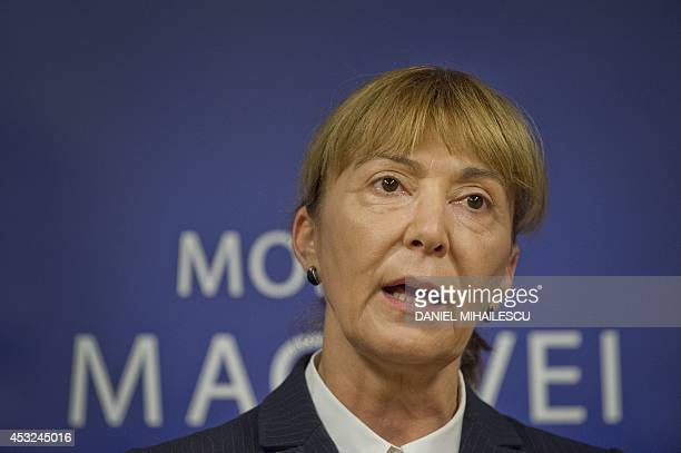 Romanian Democratic Liberal MEP Monica Macovei is pictured during a press conference in Bucharest on August 6 2014 Macovei places herself outside the...
