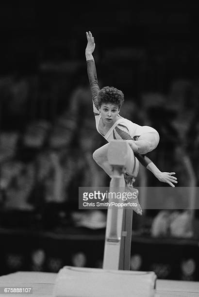 Romanian gymnast Daniela Silivas pictured in action to win the gold medal on the balance beam during competition in the Women's artistic gymnastics...