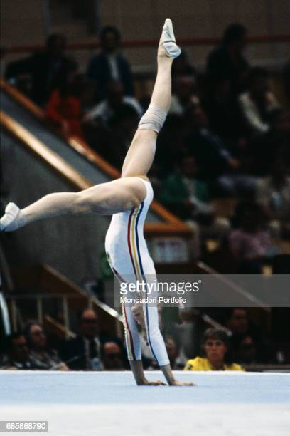 Romanian gymnast Nadia Comaneci during a floor exercise at the XXII Olympics in Moscow USSR 1980