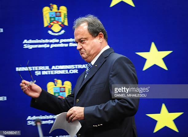 Romanian Interior Minister Vasile Blaga arrives on September 27 2010 at a press conference to announce his resignation at the Interior Ministry in...