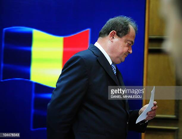 Romanian Interior Minister Vasile Blaga leaves a press conference on September 27 2010 after announcing his resignation at the Interior Ministry in...
