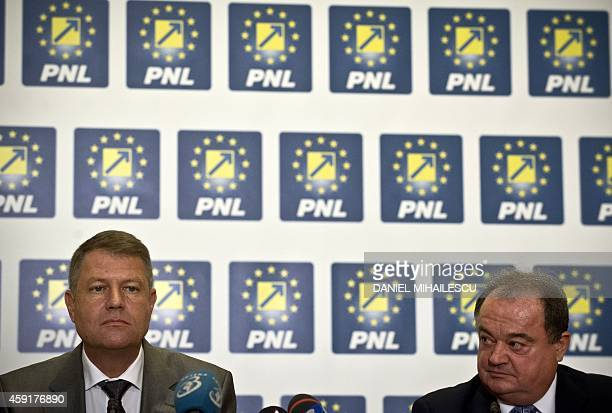 Romanian President elect Klaus Iohannis attends a press conference together with Vasile Blaga of National Liberal Party at the Parliament Palace in...