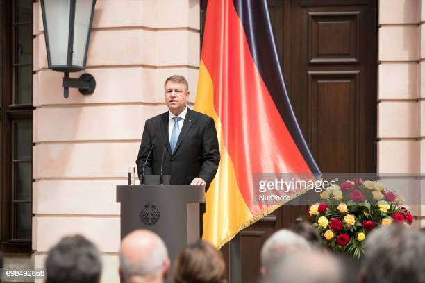 Romanian President Klaus Iohannis speaks during a Commemoration day for the Victims of escape and eviction at the German History Museum in Berlin...