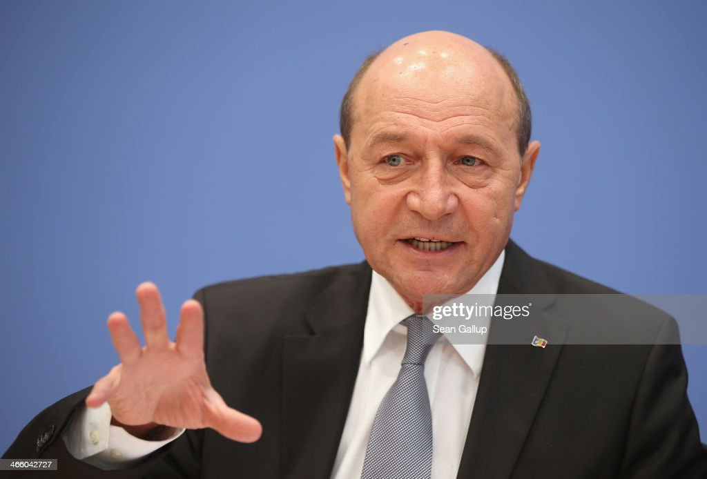 Romanian President <a gi-track='captionPersonalityLinkClicked' href=/galleries/search?phrase=Traian+Basescu&family=editorial&specificpeople=542324 ng-click='$event.stopPropagation()'>Traian Basescu</a> speaks to the media at a press conference on January 31, 2014 in Berlin, Germany. Basescu is in Germany to take part in the annual Munich Security Conference that begins later today.