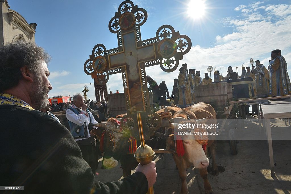 A Romanian priest holds a cross next to an oxen pulled cart transporting water to be consecrated during the epiphany religious service in Constanta city (230km east from Bucharest) on January 6, 2013. Thousands romanian Orthodox believers attended the celebration of Epiphany in the Black Sea coastal city.