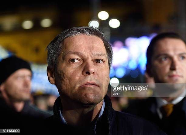 Romanian Prime Minister Dacian Ciolos attends a meeting of the National Liberal Party in Bucharest on November 6 2016 Around 5000 people take part in...