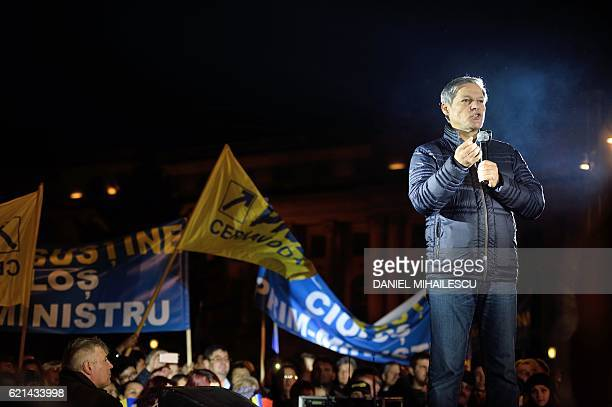 Romanian Prime Minister Dacian Ciolos speaks during a meeting of the National Liberal Party in Bucharest on November 6 2016 Around 5000 people take...