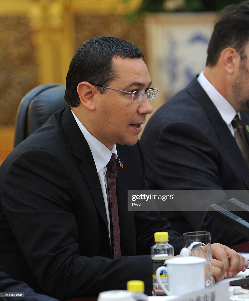 Romanian Prime Minister <a gi-track='captionPersonalityLinkClicked' href=/galleries/search?phrase=Victor+Ponta&family=editorial&specificpeople=6752065 ng-click='$event.stopPropagation()'>Victor Ponta</a> attends a meeting with Chinese President Xi Jinping at the Great Hall of the People on September 1, 2014 in Beijing, China. The Romanian Prime Minister is on a three day visit to China to strengthen their economic relationship.