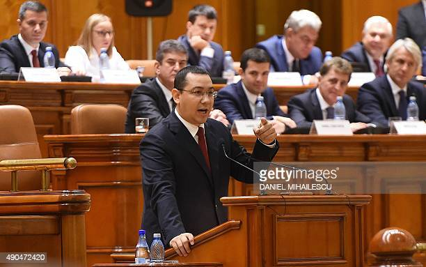 Romanian Prime Minister Victor Ponta delivers a speech at the Romanian Parliament in Bucharest September 29 2015 Romanias parliament is to debate a...