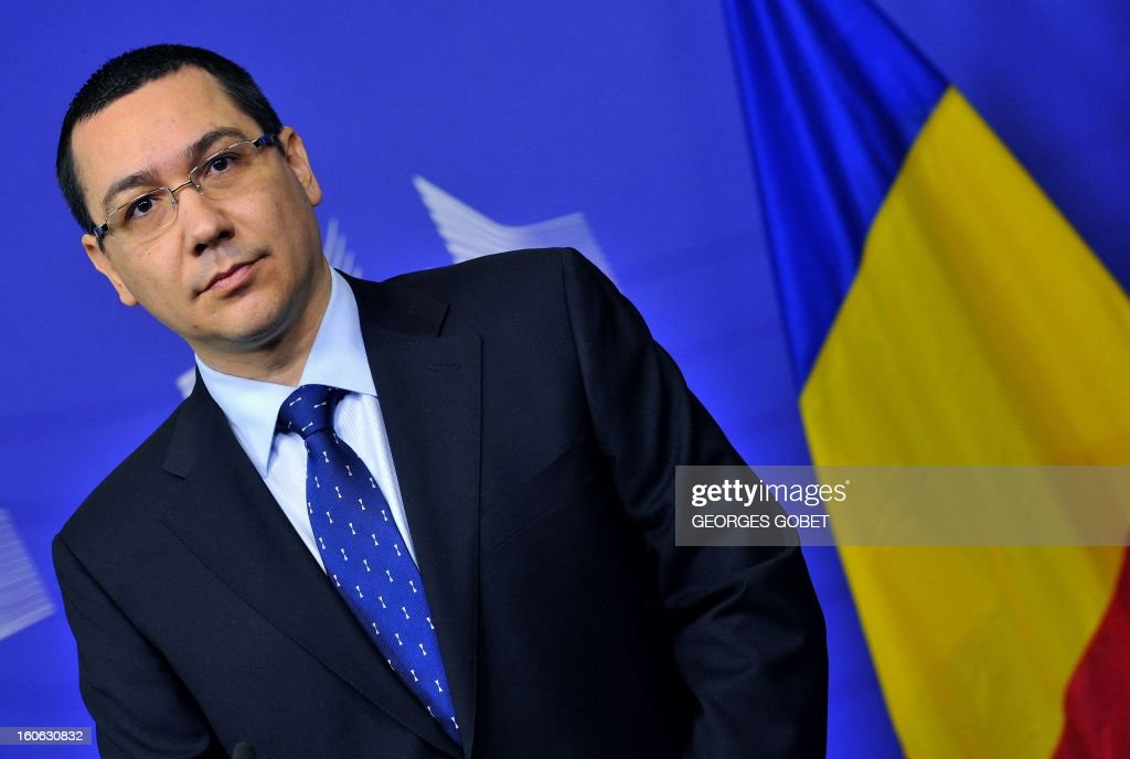 Romanian Prime Minister Victor Ponta gives a joint press conference with European Commission President Jose Manuel Barroso (unseen) after their working session on Feburary 4, 2013 at the EU Headquarters in Brussels.