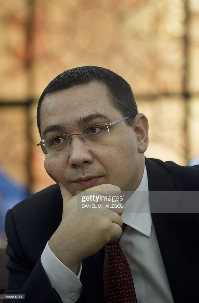 Romanian Prime Minister <a gi-track='captionPersonalityLinkClicked' href=/galleries/search?phrase=Victor+Ponta&family=editorial&specificpeople=6752065 ng-click='$event.stopPropagation()'>Victor Ponta</a> is pictured during an interview with foreign media at the Romanian government headquarters in Bucharest March 17, 2015. AFP PHOTO DANIEL MIHAILESCU